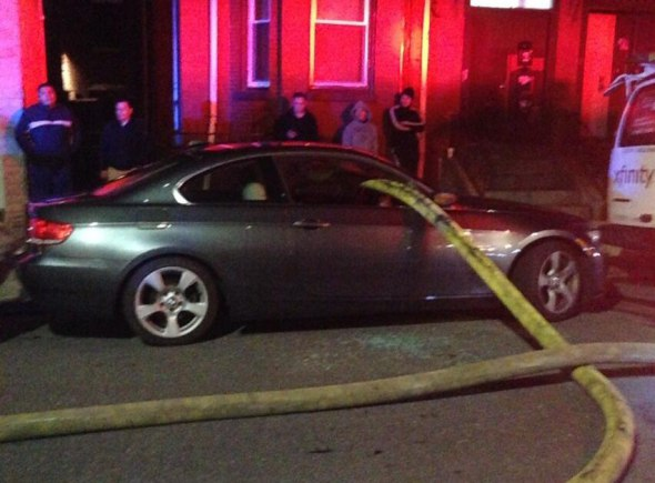 car in front of hydrant